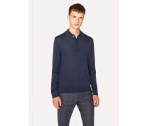 Slate Blue Merino Wool Long-Sleeve Polo Shirt