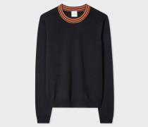 Navy Wool Sweater With 'Artist Stripe' Collar