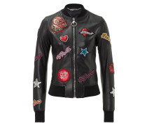 """Leather Bomber """"Roses"""""""