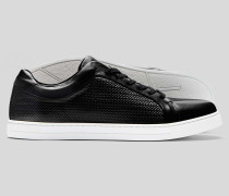 Gewebte Leder-Sneaker - Schwarz