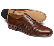 Derby-Schuhe mit Oberschuh aus Gewebe in Gelbbraun
