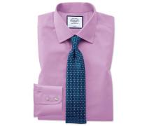 Slim Fit Popelinehemd in Violett Knopfmanschette