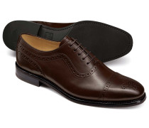 Chocolate Oxford brogue toe cap shoe