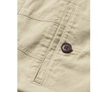 Shorts aus Baumwoll-Leinen in Leichtgrau