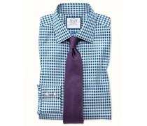 Extra Slim Fit Hemd in Blaugrün mit Gingham-Karos