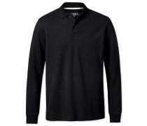 Langärmeliges Piqué Poloshirt in Schwarz