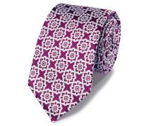 Klassische Krawatte mit Blumenmuster in Magenta