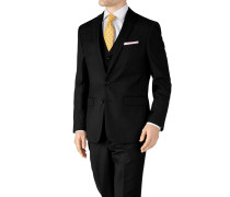 Slim Fit Businessanzugsakko aus Twill in Schwarz