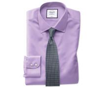 Slim Fit Twill-Hemd in Flieder Knopfmanschette