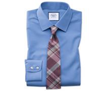 Classic Fit Popeline-Hemd in Blau Knopfmanschette