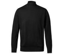 Pullover mit Stehkragen aus Merino in Schwarz