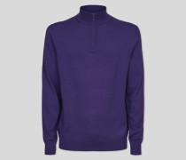 Merinopullover mit Reißverschlusskragen - Violett