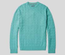 Pullover aus Pima-Baumwolle mit Zopfmuster - Aqua