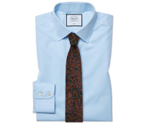 Slim Fit Popeline-Hemd in Himmelblau