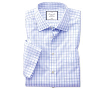 Slim fit non-iron natural cool short sleeve sky blue check