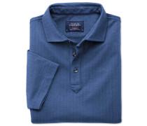 Poloshirt in Blau mit Fischgrätmuster