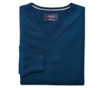 Merino Pullover mit V-Ausschnitt in Blau