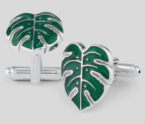 Manschettenknöpfe mit Blatt-Design - Grün