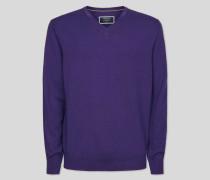 Merinopullover mit V-Ausschnitt - Violett