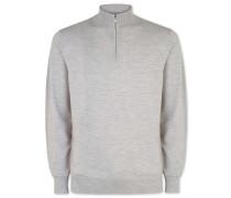 Merino-Pullover mit Reißverschlusskragen in Silber