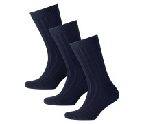 3er-Pack Socken mit hohem Wollanteil in Marineblau