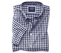 Bügelfreies Kurzarmhemd aus Popeline in Marineblau