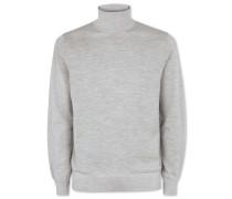 Merino-Pullover mit Rollkragen in Silber