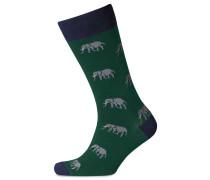 Socken mit Elefantenmotiv in Grün