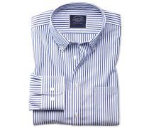 Bügelfreies Classic Fit Popeline-Hemd in Blau