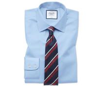 Slim Fit Twill-Hemd in Himmelblau Knopfmanschette