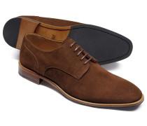 Derby-Schuhe aus Veloursleder in Braun