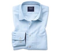Slim Fit Oxfordhemd in Hellblau Knopfmanschette