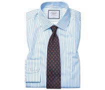 Slim Fit Twill-Hemd in Weiß und Himmelblau