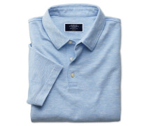 Polohemd aus Baumwoll-Leinen in Blau