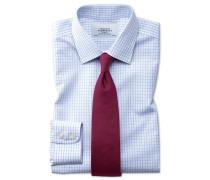 Extra slim fit non-iron small windowpane check light blue shirt