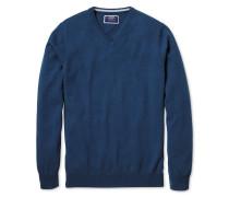 Pullover aus Kaschmir mit V-Ausschnitt in Blau