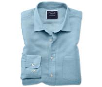 Hemd Slim Fit Tencel™/Leinen in Blau
