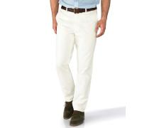 Slim Fit Feizeit Chino ohne Bundfalte Weiß