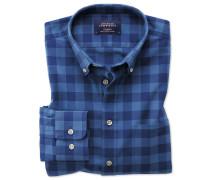 Extra Slim Fit Oxfordhemd in Blau mit Karos