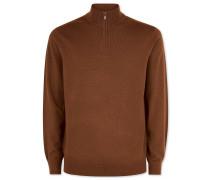 Merino-Pullover mit Reißverschlusskragen in Ocker