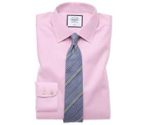 Slim Fit Twill-Hemd in Rosa Knopfmanschette