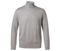 Pullover aus Merino mit Rollkragen in Silber