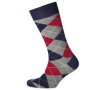 Socken mit Argyle-Muster in Grau und Rot