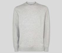 Merino-Kaschmir-Pullover mit Rundhals - Silber