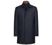 Car Coat aus Wolle in MarineBlau mit Muster
