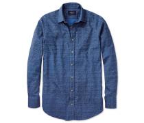 Extra Slim Fit in Blau mit Print Knopfmanschette