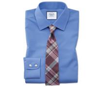 Slim Fit Popeline-Hemd in Blau Knopfmanschette