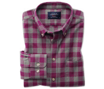 Classic Fit Oxfordhemd in BeerenRot und Grau