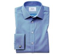 Extra Slim Fit Hemd in Blau mit gewebten Quadraten