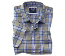 Slim Fit Kurzarmhemd aus Baumwoll-Leinen